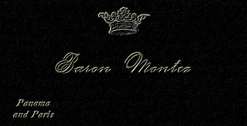 """Visiting card is decorated with a coronet. Embossed flowing script reads, """"Baron Montez, Panama and Paris""""."""